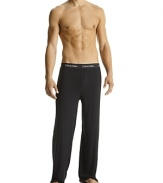 Sexy-fit with contour shapes, soft hand with luxurious drape. Exposed waistband style pajama pants.