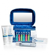 The perfectly portable way to keep your smile white. Convenient kit includes a train case with built-in mirror (6½L) containing six assorted Touch Up® ampules (.02fl/.59 ml each), travel-sized tubes of AM and PM Toothpaste (1oz/28g each), a travel toothbrush and a case of floss picks. Your smile will be white and healthy, in any time zone!