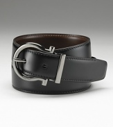 Salvatore Ferragamo Gunmetal Gancini reversible belt. Rich leather. Ferragamo is engraved on the buckle.