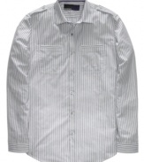 Stripes on this button-front American Rag shirt provide a classic look that never goes out of style.