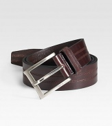 Rich calfskin leather is detailed with double stitching and a silvertone buckle. About 1½ wide Imported