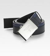 Two-tone design with Prada engraved metal plaque buckle. About 1¼ wide Made in Italy