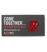 In partnership with MTV, Kenneth Cole has reinterpreted the AIDS ribbon to commemorate the discovery of the virus 30 years ago. The double loop design symbolizes the coming together of individuals and the re-doubling of our efforts to fight the pandemic.