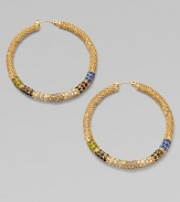 Richly textured hoops set with a stunning spectrum of colored glass stones.GlassBrassDiameter, about 1¾Post backImported
