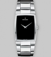 From the Eliro Collection. Elegantly understated, with a subtly curved case and smart link bracelet of stainless steel, plus a simple black dial. Swiss quartz movement Water-resistant to 3ATM Stainless steel bezel Rectangular stainless steel case; 38mm long (1.5) Black dial One silvery hour marker at 12:00 Stainless steel link bracelet; 20mm wide (.79) Made in Switzerland