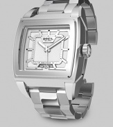 A sleek design in gleaming stainless steel with quartz precision, a square face and patterned silver dial. Quartz movement Water resistant to 10 ATM Date function at 6 o'clock Second hand Stainless steel case: 38mm Deployment clasp Made in Switzerland