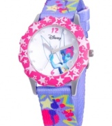 Clap if you believe in fairies! This glittery Disney watch flaunts a glittery strap and a Tinker Bell graphic at the dial.
