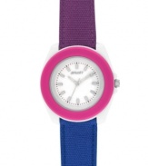 Give a nod to nature with this berry-colored and eco-friendly watch by Sprout. Purple and blue organic cotton strap and round white corn resin case with pink bezel and mineral crystal. Natural mother-of-pearl dial features applied silver tone stick indices, black printed minute track, three silver tone hands and logo. Quartz movement. Limited lifetime warranty.