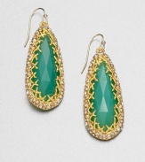 From the Elements Siyabona Collection. Faceted chrysoprase in a teardrop shape surrounded in Swarovski crystals in a goldtone setting. Goldtone Swarovski crystalsChrysopraseDrop, about 2.2514k gold filled French wire backMade in USA