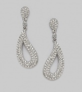 EXCLUSIVELY AT SAKS. Open apostrophe drops curve inward to frame the face.Hand-set crystal Rhodium plated Length, about 1¾ Post backs Imported