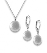 Lustrous light. Precious freshwater pearl coins (12 mm) create a divinely elegant and understated look in this necklace and earring set. Set in sterling silver. Approximate length: 18 inches. Approximate drop: 1/2 inch. Approximate earring drop: 1/2 inch.