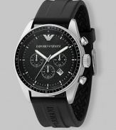 Sporty and handsome at once with a black chronograph dial and easy rubber strap. Water resistant to 5 ATM Date function at 4:30 Second hand Stainless steel case: 43mm Imported