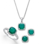 Pure, elegant energy. Surround yourself in vibrant green agate with this gorgeous pendant set. Each piece of agate (4-1/10 ct. t.w.) is surrounded by a sleek ring of diamond accents to make this set really sparkle. Approximate length (necklace): 18 inches. Approximate drop (pendant): 1/4 inch. Approximate earring diameter: 1/4 inch. Ring size 7.