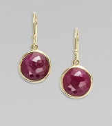 From the Lollipop Collection. Boldly hued ruby stones in 18k gold. Ruby18k goldDrop, about 1Ear wireImported