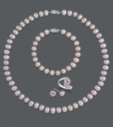 Pretty in pink. Pink cultured freshwater pearls (7-8 mm) set in sterling silver comprise this matching four-piece jewelry set. Includes a strand necklace, a strand bracelet, a wrap ring and stud earrings. Approximate necklace length: 18 inches. Approximate bracelet length: 7-1/2 inches. Size 7. Items come packaged in a black gift box.