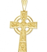 A hint of faith and a little Celtic inspiration, too. This beautifully-crafted cross charm features a cut-out and textured design in 14k gold. Chain not included. Approximate length: 1-3/10 inches. Approximate width: 7/10 inch.