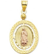 This stunning charm combines two religious themes in one. One side features Guadalupe, while the other depicts Ecce Homo, or literally, Behold the Man. Crafted in 14k gold, 14k rose gold and sterling silver. Approximate length: 1-3/10 inches. Approximate width: 7/10 inch.