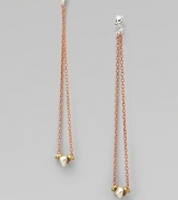 This ingenious design boasts beautiful beads on a long, continuous, link chain attached to the front and back of the earring. Sterling silverCopperplated brassGoldplatedLength, about 3Post backMade in USA