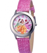 Feel like royalty in this Disney princesses watch, With a glittering strap, the dial flaunts glitzy accents.