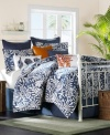 A simple addition to the Pacifica comforter sets, this decorative pillow from Harbor House features a navy hue with a pleated technique that lends just a hint of orange to the look.