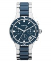 Sporty with a classic edge, this DKNY chronograph watch catches the eye with deep blues.