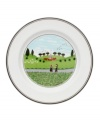 Two friends meet for a quiet stroll in the country on this Design Naif bread and butter plate, featuring premium Villeroy & Boch porcelain.