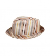 Elegant hat in fine, patterned silk and linen blend - A chic spin on the classic Trilby style - Vibrant coral and cream stripe motif - Moderately large brim ideal for keeping the sun at bay - An eye-catching, go-to warm weather accessory - Pair with everything from a t-shirt and chinos to a button down and Bermudas