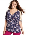 Amp up your frill factor with Eyeshadow's floral-print plus size top, accented by lace trim.