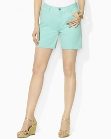 Designed for comfort and a flattering fit, the Colette denim short is warm-weather ready in a bright, colorful hue.