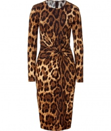 Luxe dress in fine, printed rayon stretch blend - Elegant, on-trend leopard motif in rich shades of brown and gold - Sleek, long sleeve bodice with round neck - Gorgeous draped knot cinches the waist Fitted, feminine silhouette flatters and accentuates every curve - Pencil skirt hits at knee - Zips at back - Sexy and sophisticated, perfect for parties and evenings out - Pair with a clutch and peep toe pumps or dressy sandals