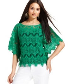 A pretty lace-knit design and eye-catching color makes this INC petite top an amazing find! Pair it with a cami and your favorite white jeans for a cool summer outfit.