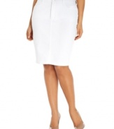 Add a feminine touch to your casual style with Not Your Daughter's Jeans' plus size pencil skirt, finished by a crisp white wash.
