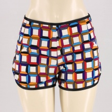 These vintage-inspired shorts featurea bright cubist print.